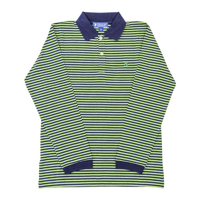 The J Bailey Harry Long Sleeve Polo in Navy and Leaf Stripe
