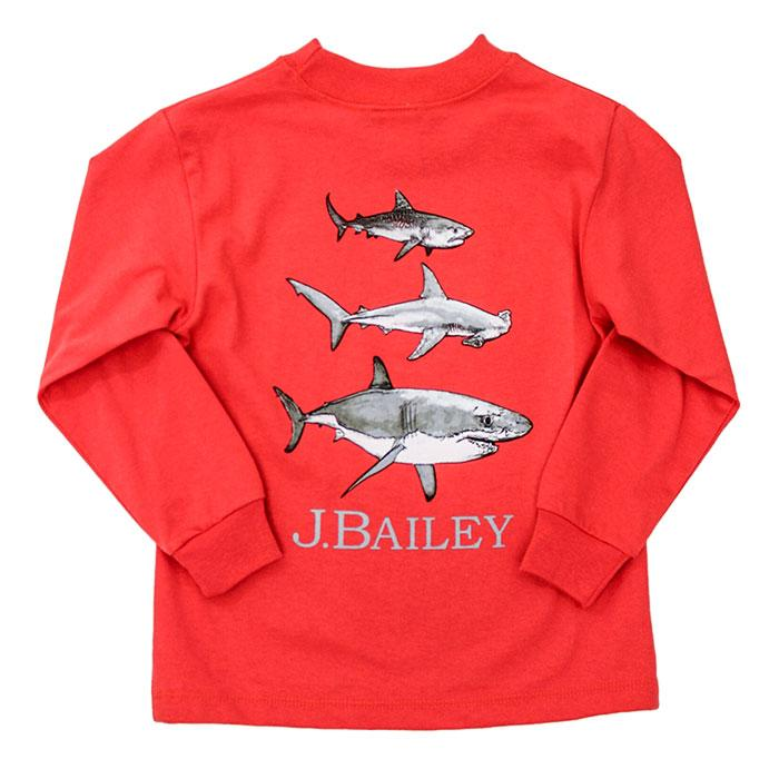 The J Bailey Logo T-Shirt Shark Trio on Coral
