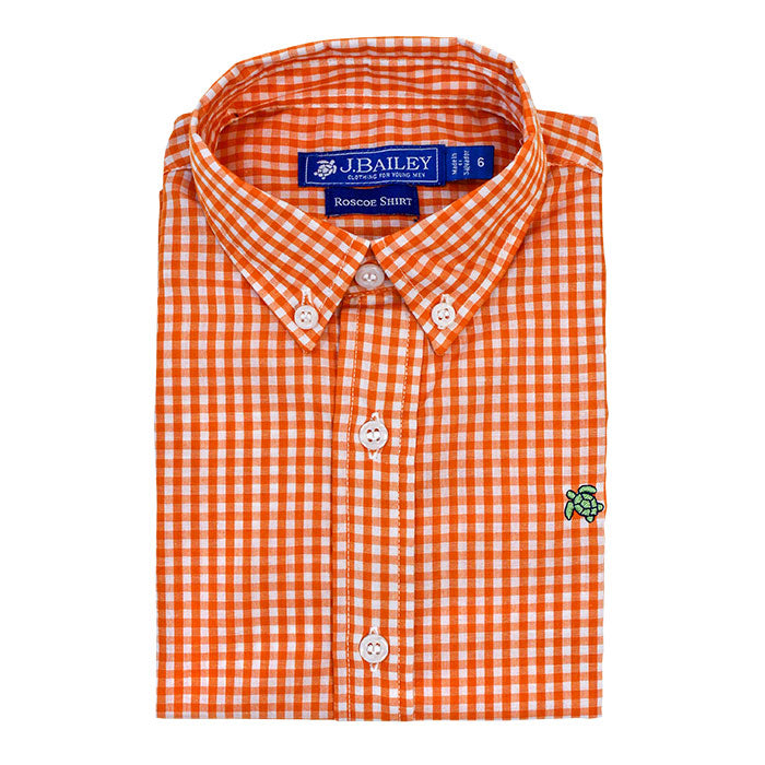 Orange Check Button Down Shirt