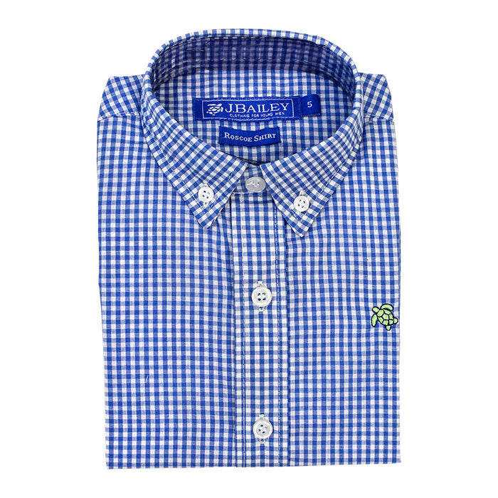 Cadet Blue Check Button Down Shirt