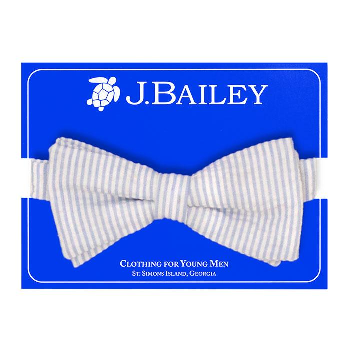 Light Blue Stripe Seersucker Johnny Bow Tie