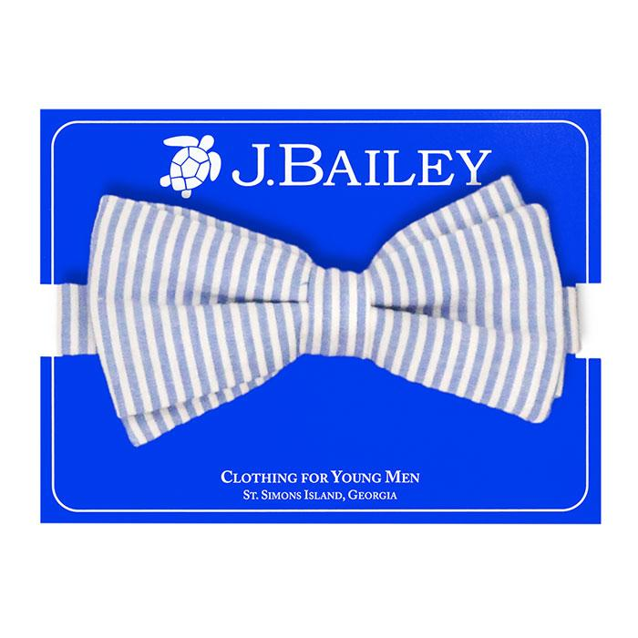 Sailor Blue Stripe Seersucker Johnny Bow Tie