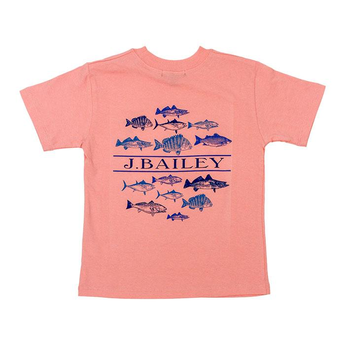 Fish on Coral J. Bailey Logo Tee Shirt
