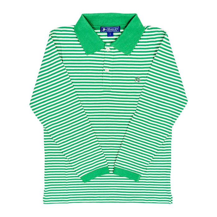 Henry Long Sleeve Polo - Green and White Stripe