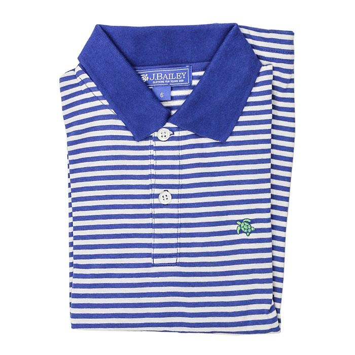 Henry Long Sleeve Polo - Marine and White Stripe