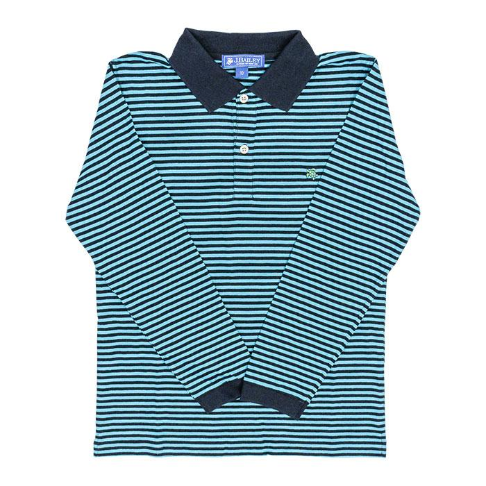 Henry Long Sleeve Polo - Turquoise and Navy Stripe