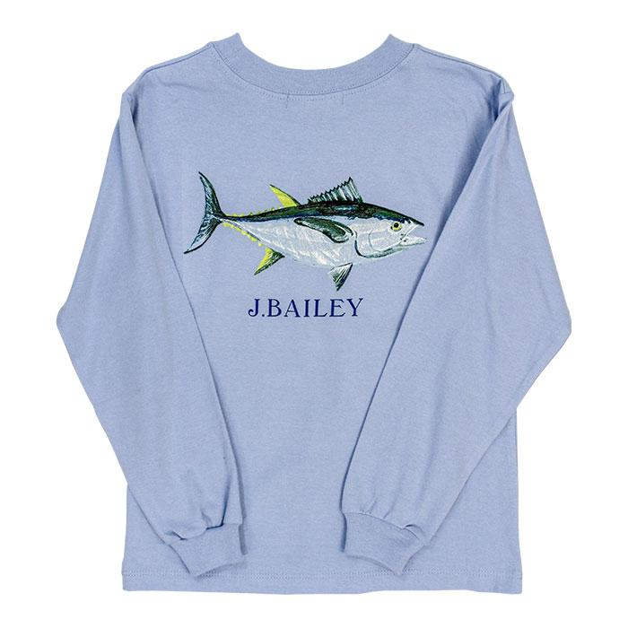 J. Bailey Logo Tee - Blue Fish on Light Blue