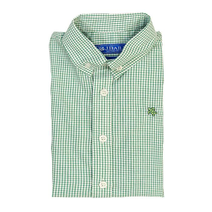 Roscoe Button Down Shirt - Green Windowpane