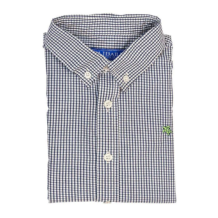 Roscoe Button Down Shirt - Navy Windowpane