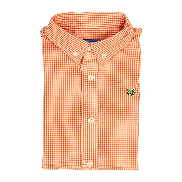 Roscoe Button Down Shirt - Orange Windowpane