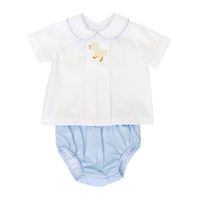 Shadow Stitch Ducky Top & Diaper Cover Set