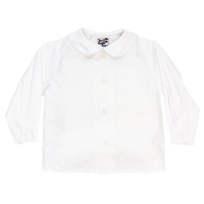 White Piped Peter Pan Long Sleeve Button Down Shirt