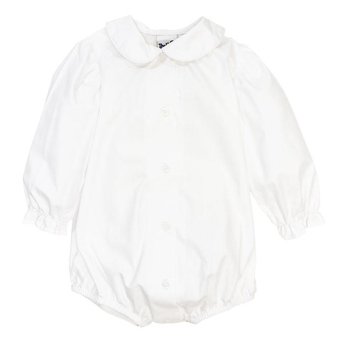 Girls White Piped Peter Pan Long Sleeve Button Down Blouse w/ Snaps