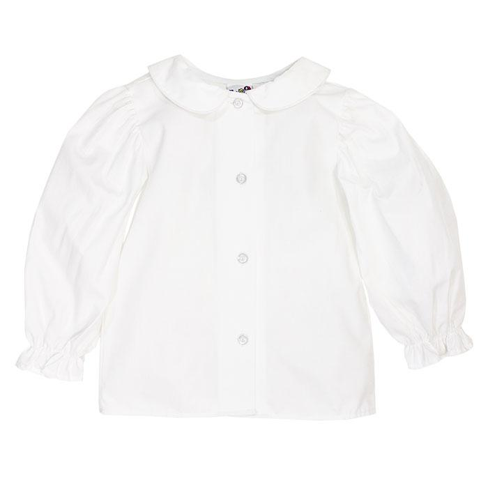 Girls White Piped Peter Pan Button Down Blouse