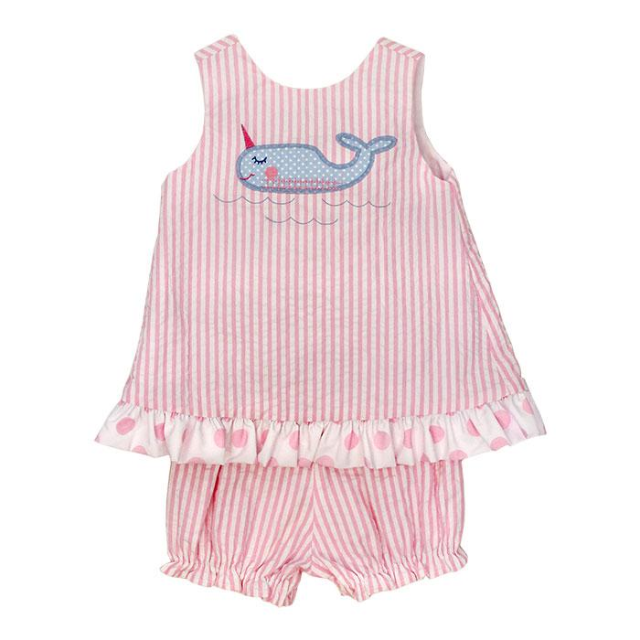 Nifty Narwhal Angel Dress Tie-Back w/ Bloomer