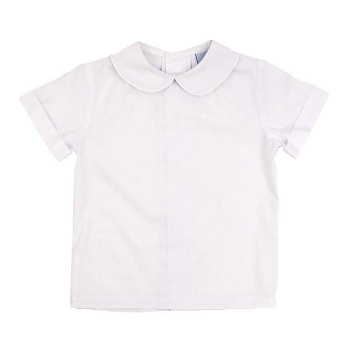 White Short Sleeve Piped Shirt