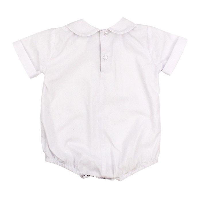 White Short Sleeved Piped Onesie