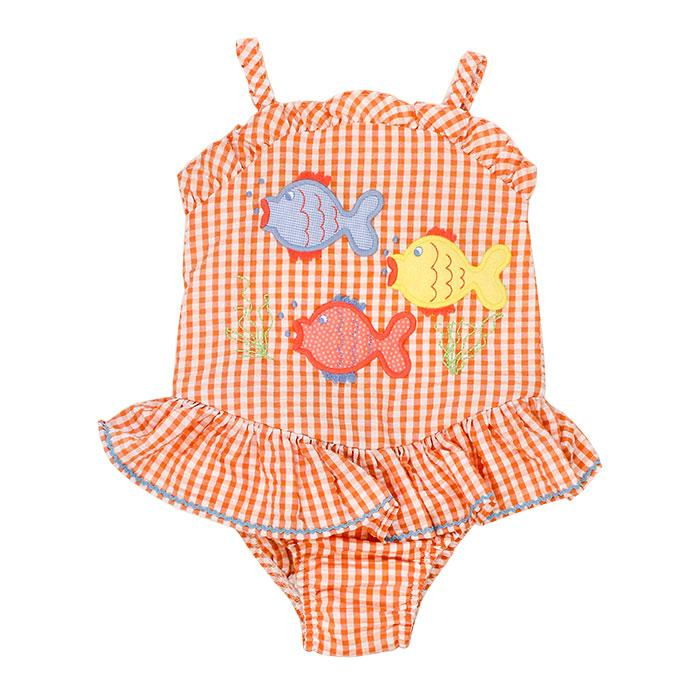 Fish Friends Seersucker One Piece Swimsuit w/ Ruffle