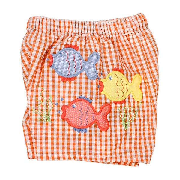 Fish Friends Seersucker Swim Trunk