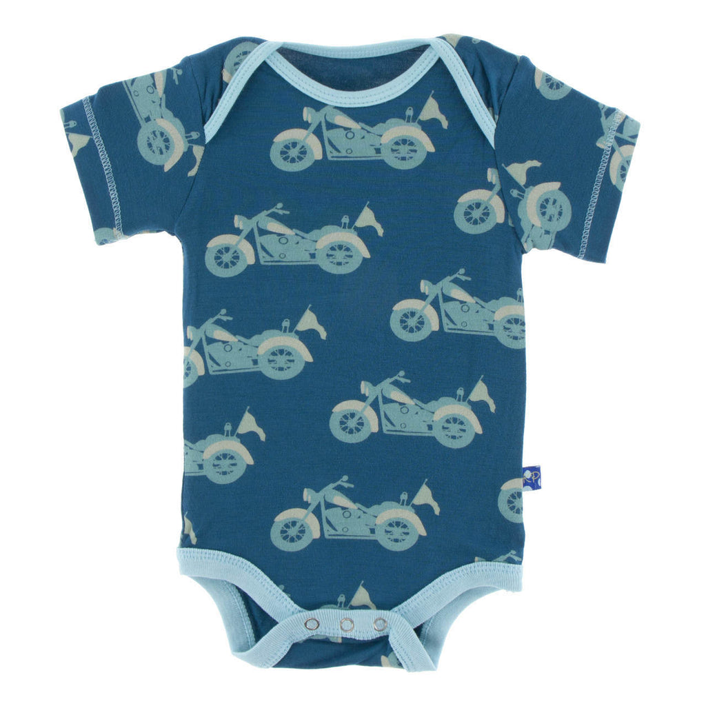 Heritage Blue Motorcycle Short Sleeve Onesie