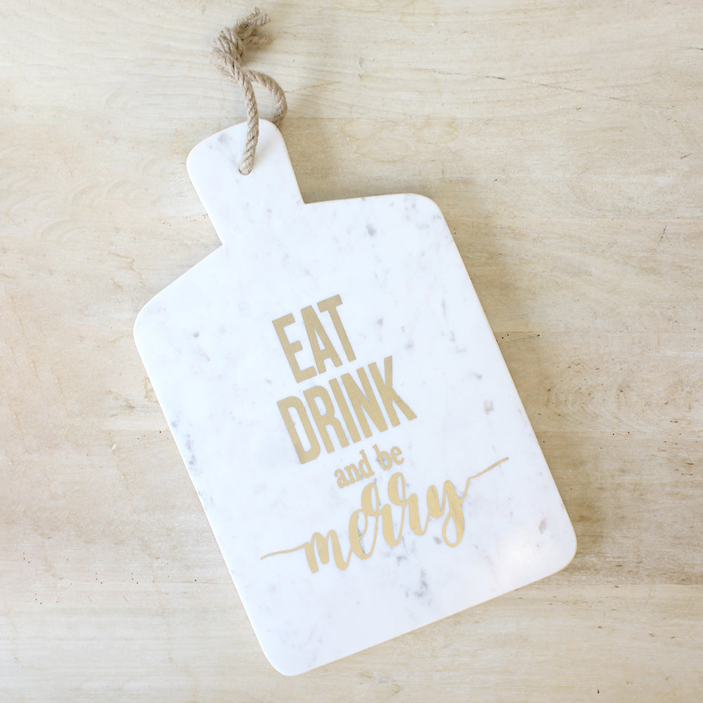 Eat, Drink, & Be Merry Marble Serving Board
