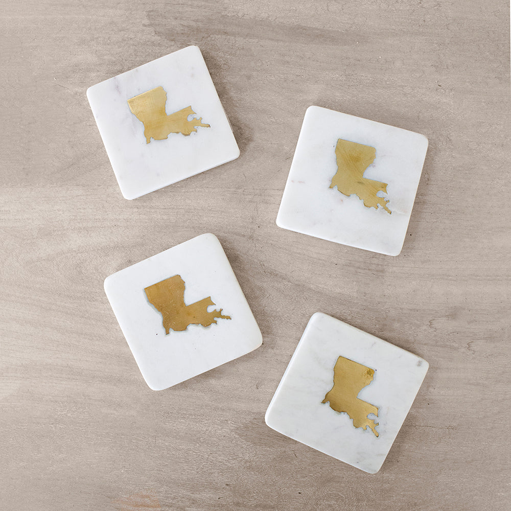 Louisiana Marble Coasters - Set of 4