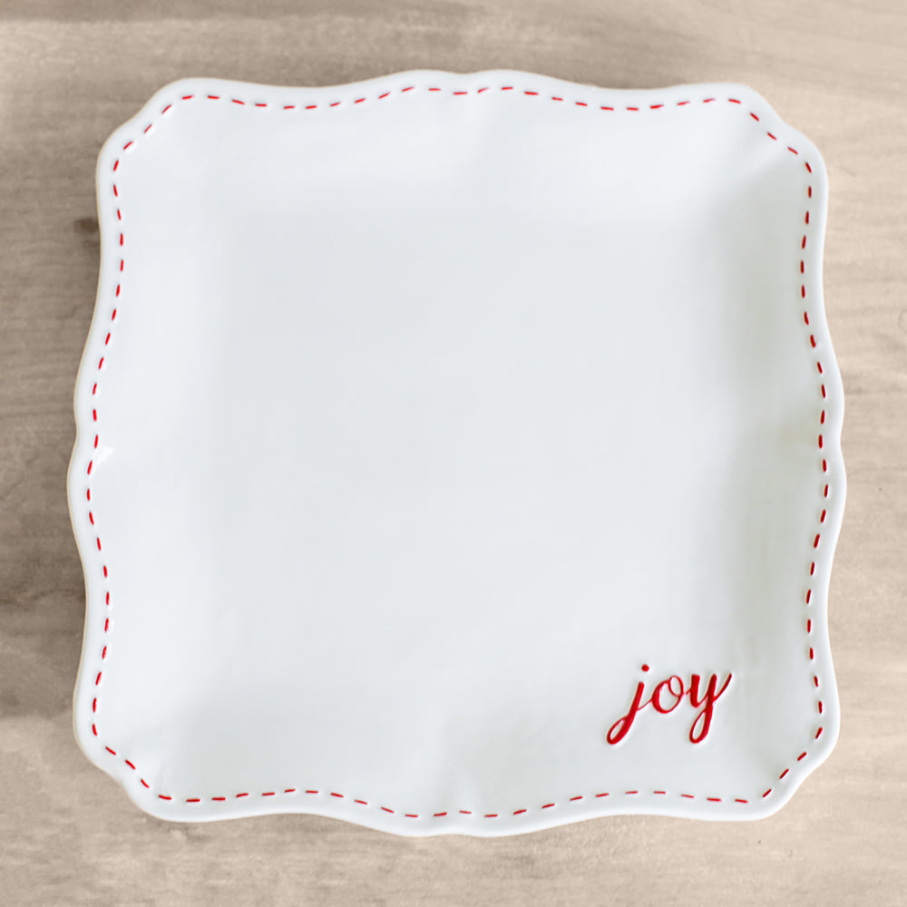 White & Red Joy Platter