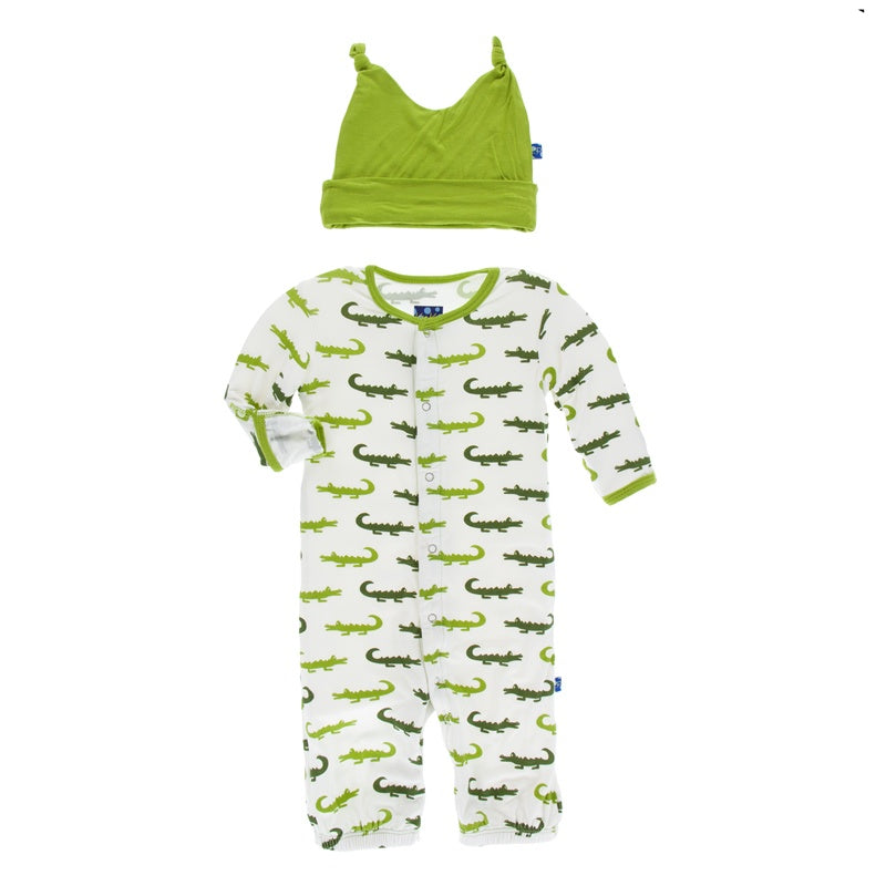 Natural Crocodile Layette Gown Converter & Knot Hat