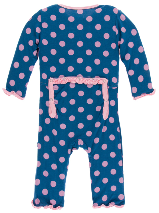 Twilight Dot Muffin Ruffle Coverall w/ Snaps