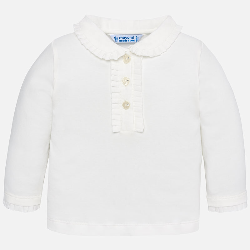 Basic long sleeved polo shirt for baby girl