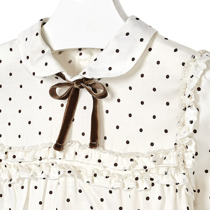 Mocha Polka Dot Blouse with Bow