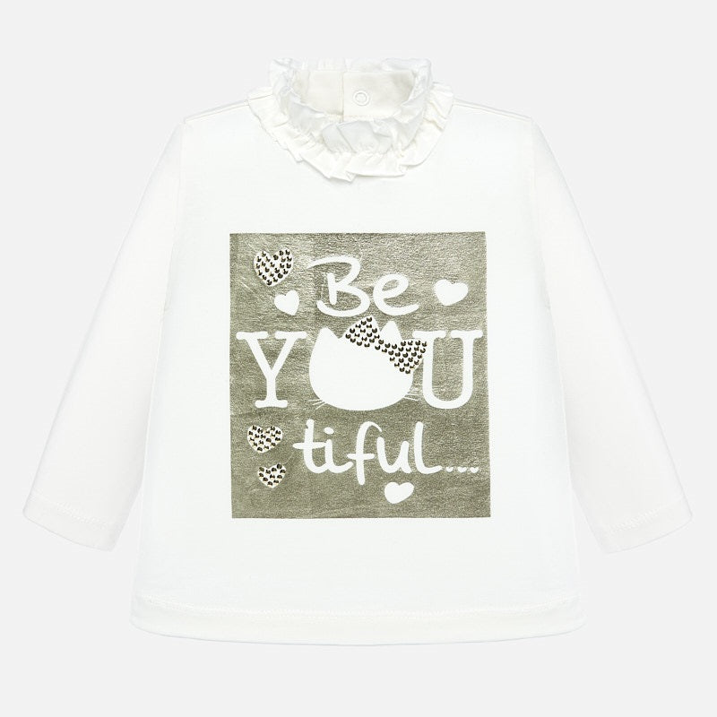 White Printed Mockneck T-Shirt