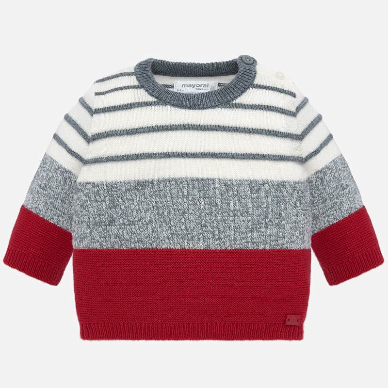Red & Grey Striped Sweater