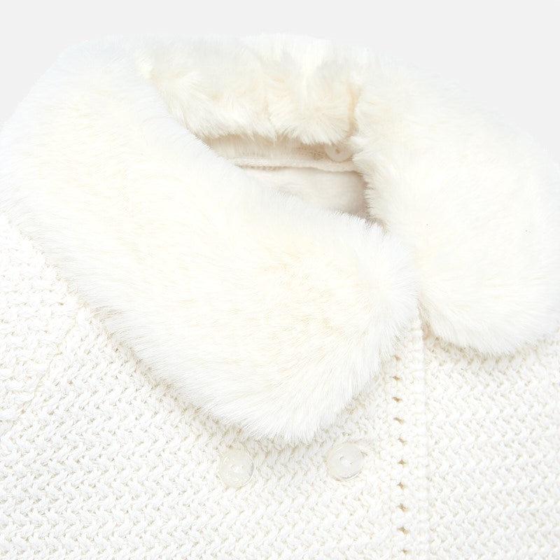 White Knit Coat with Hat