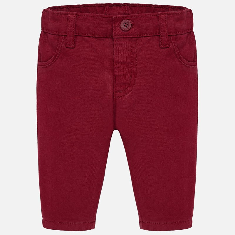 Red Casual Twill Pant