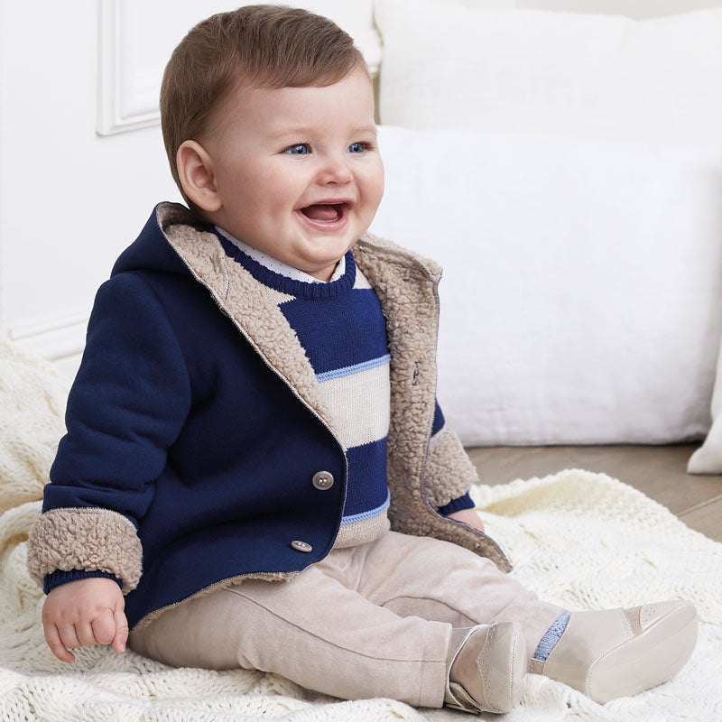 Navy & Tan Sweater & Pant Set