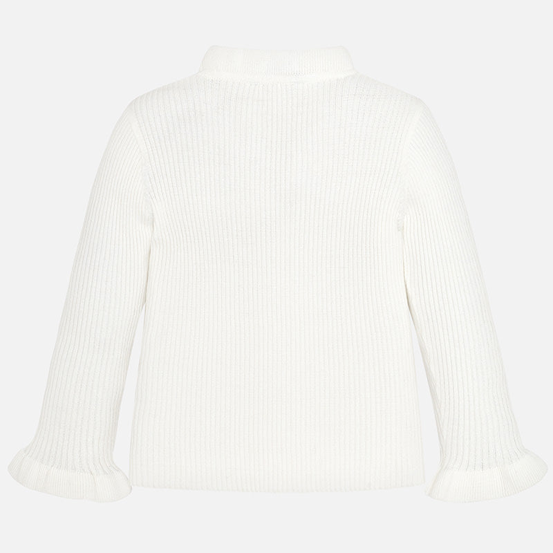 White Ruffle Mockneck Sweater