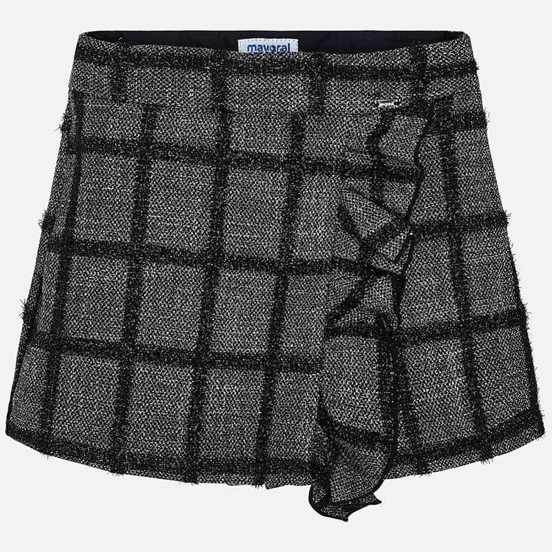 Grey & Black Plaid Skort
