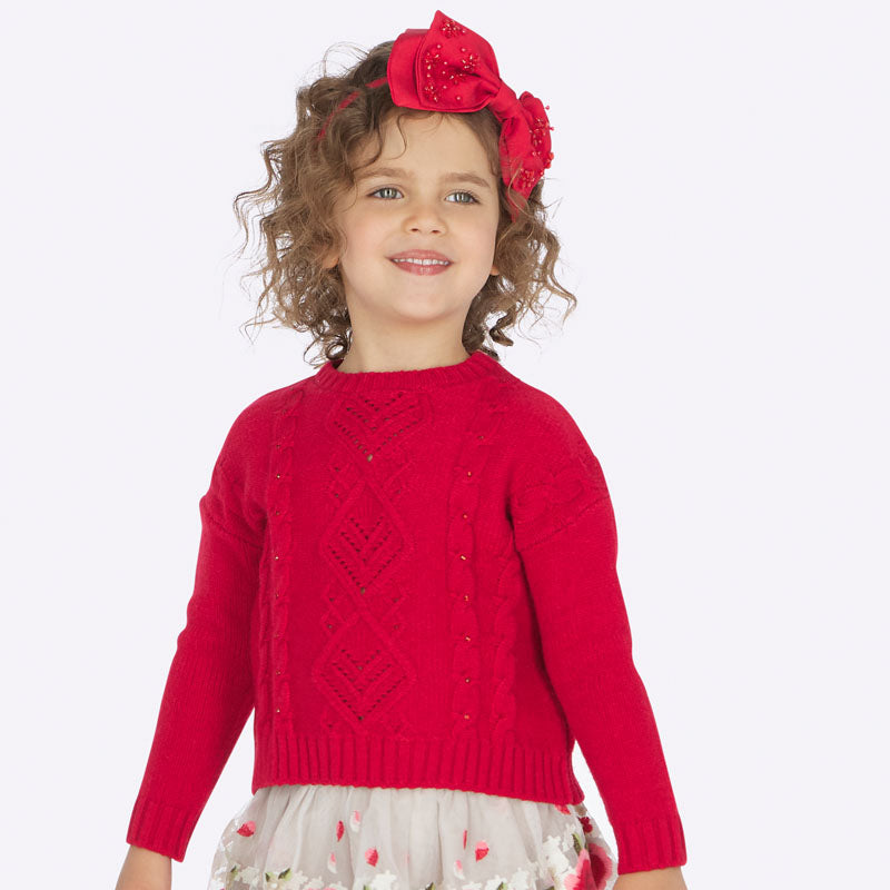 Red Rhinestone Knitted Sweater
