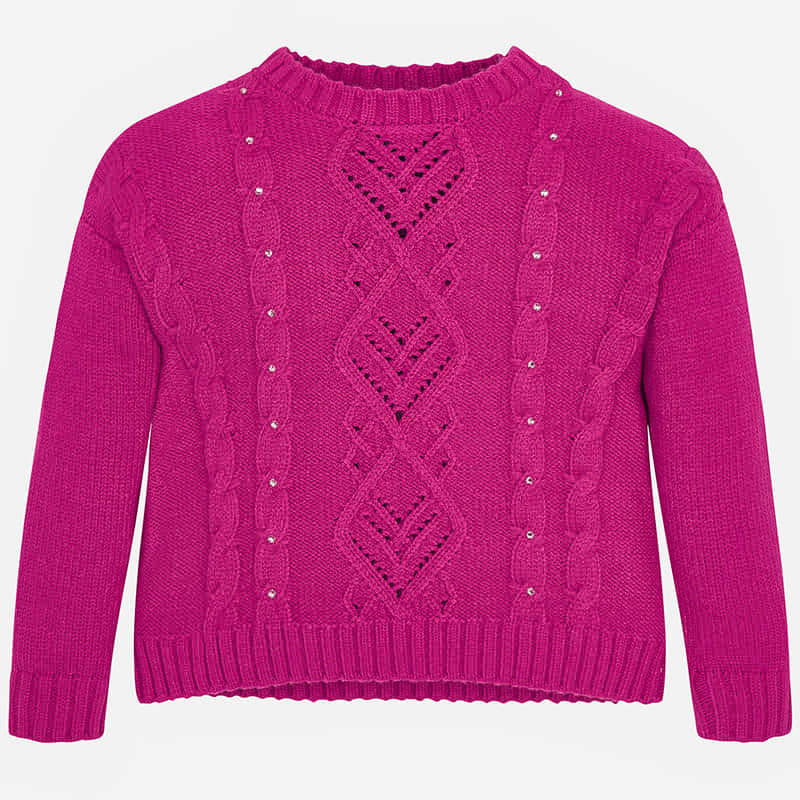 Pink Rhinestone Knitted Sweater