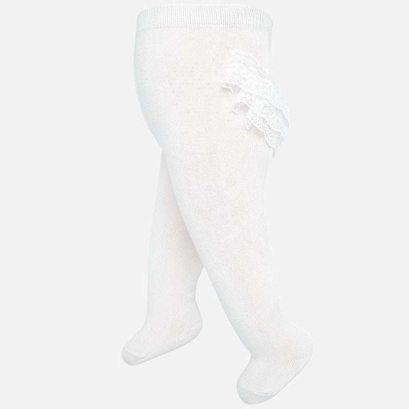 Off White Lace Ruffle Footed Tights