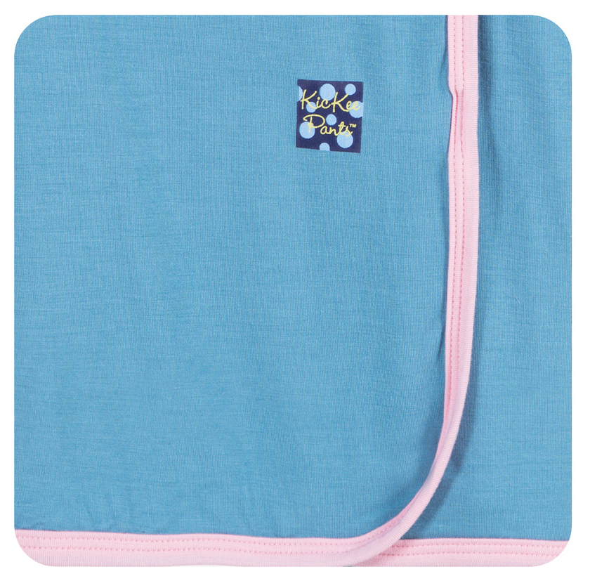 KicKee Pants - Blue Moon with Lotus Trim Swaddle Blanket - kkgivingtree