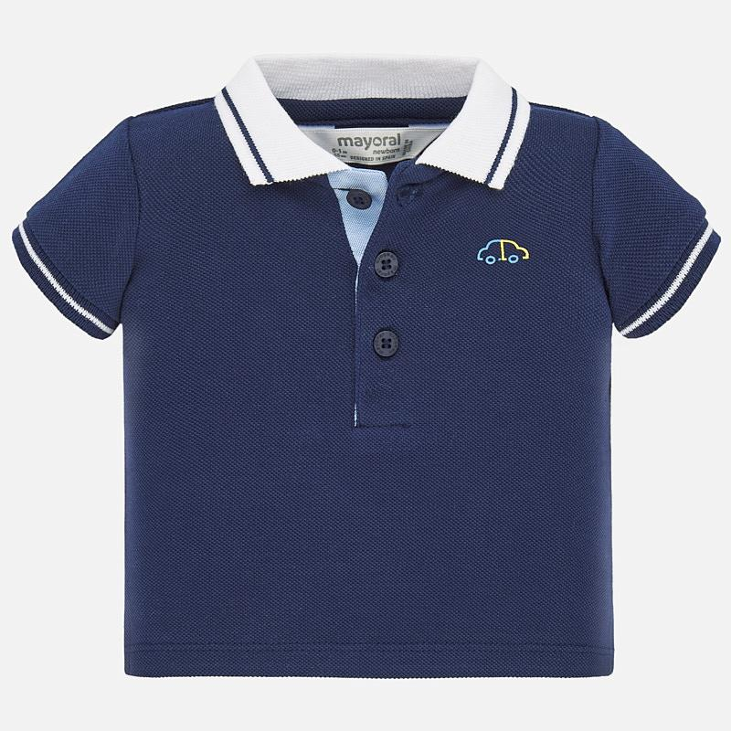 Navy Short Sleeved Polo with White Collar