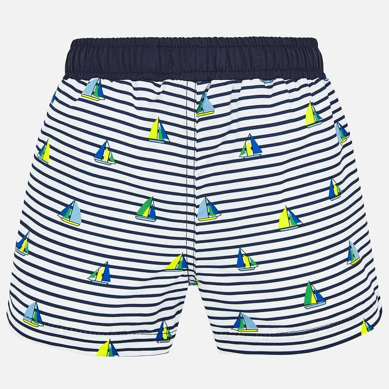 Navy & White Swim Shorts & Hat