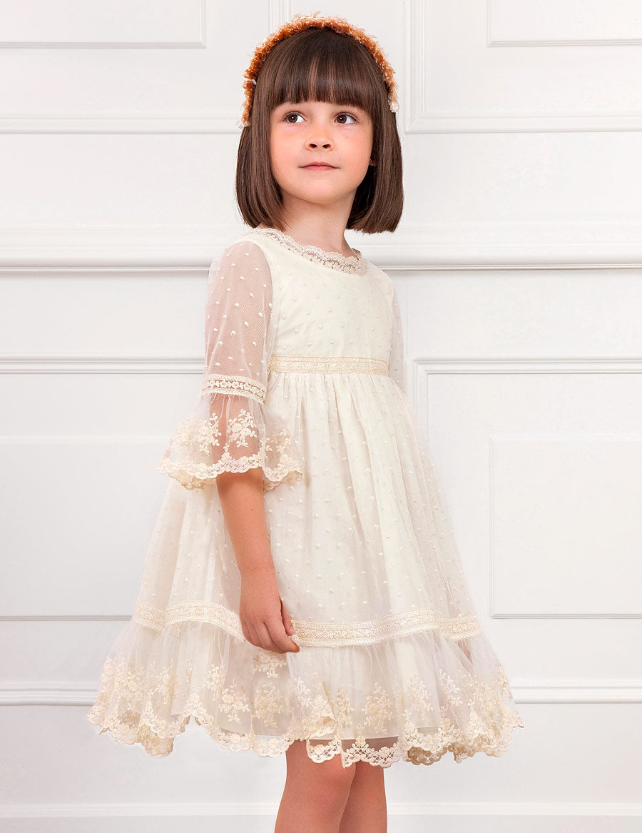 Ivory Embroidered  Tulle Dress