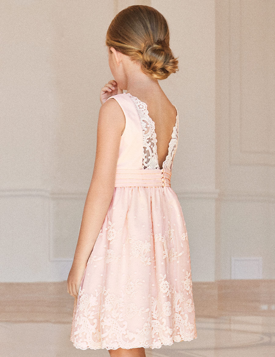 Salmon Floral Embroidered Organza Dress