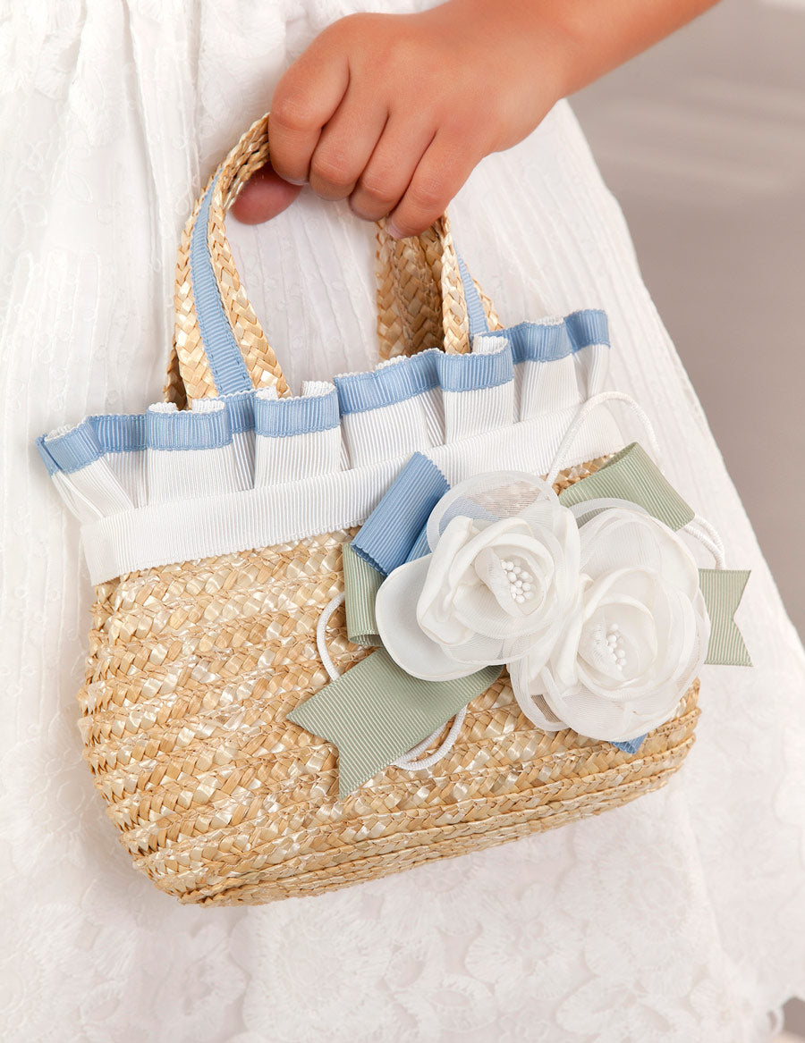 Blue Flower & Ribbon Straw Handbag