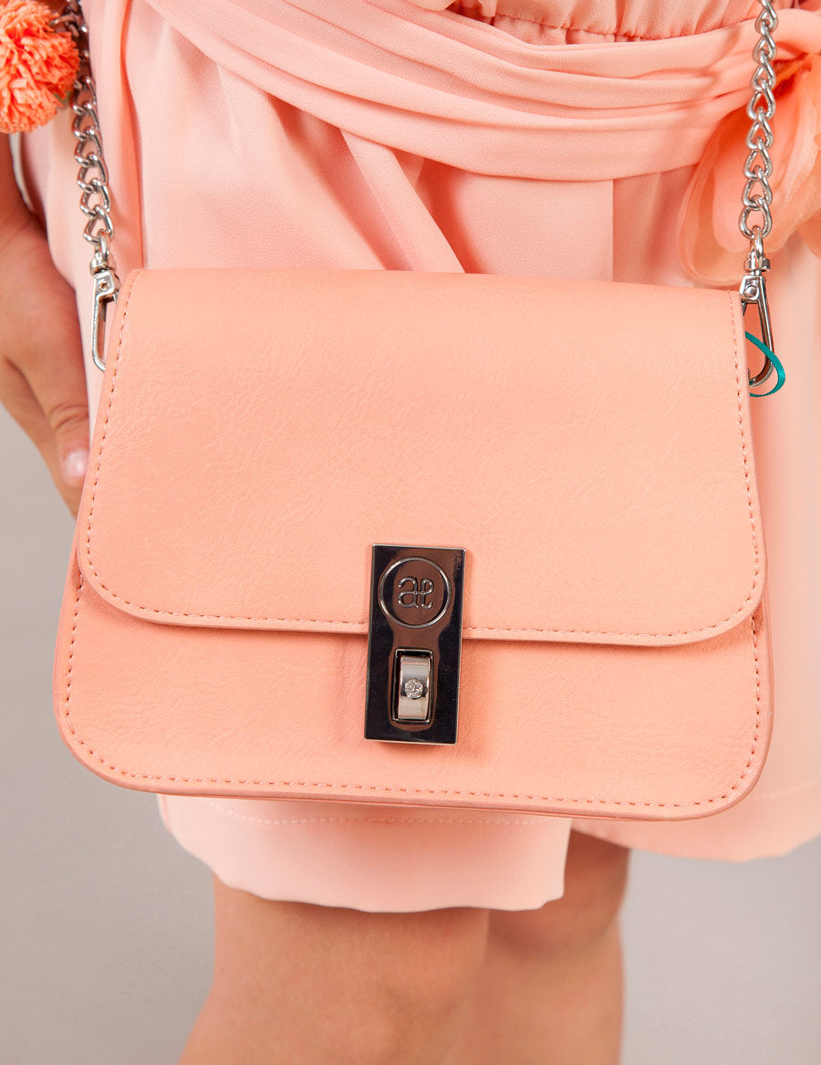 Peach Faux Leather Handbag