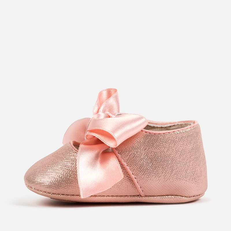 Pink Glitter Pre-Walker Shoes with Ribbon