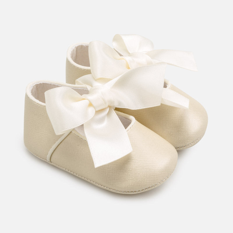 Golden Pre-Walker Shoes with Ribbon